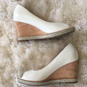 Cole Haan cream leather cork wedge heels sz 7.5